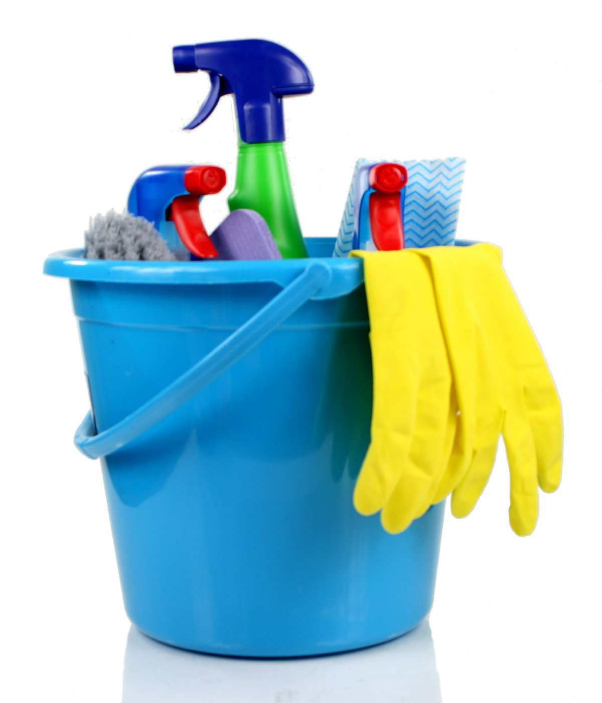 Blue bucket of cleaning supplies.